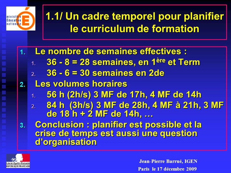 1.1/ Un cadre temporel pour planifier le curriculum de formation 1. Le nombre de semaines effectives : 1. 36 - 8 = 28 semaines, en 1 ère et Term 2. 36