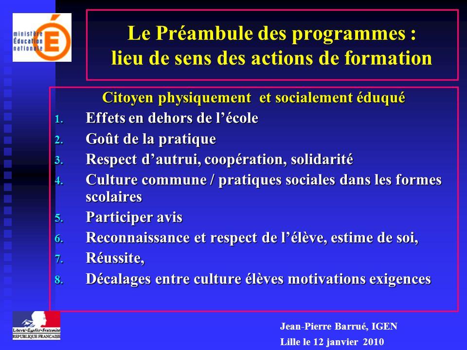 Le Préambule des programmes : lieu de sens des actions de formation Citoyen physiquement et socialement éduqué 1. Effets en dehors de lécole 2. Goût d