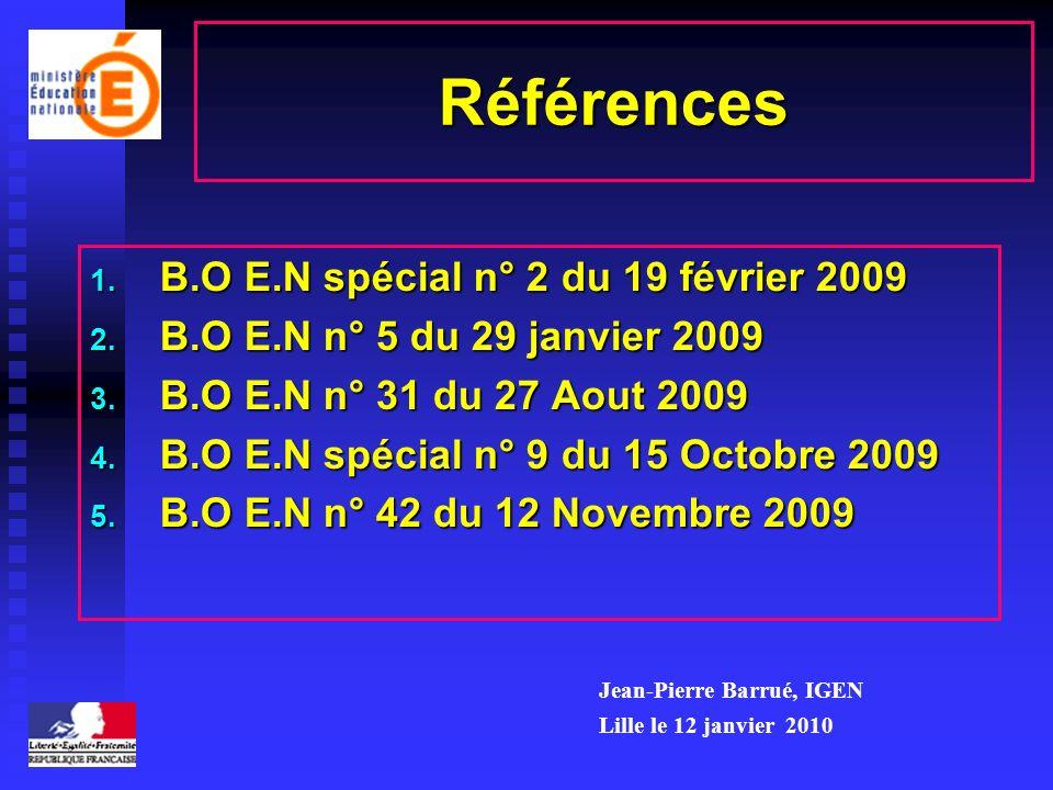 Références 1. B.O E.N spécial n° 2 du 19 février 2009 2. B.O E.N n° 5 du 29 janvier 2009 3. B.O E.N n° 31 du 27 Aout 2009 4. B.O E.N spécial n° 9 du 1