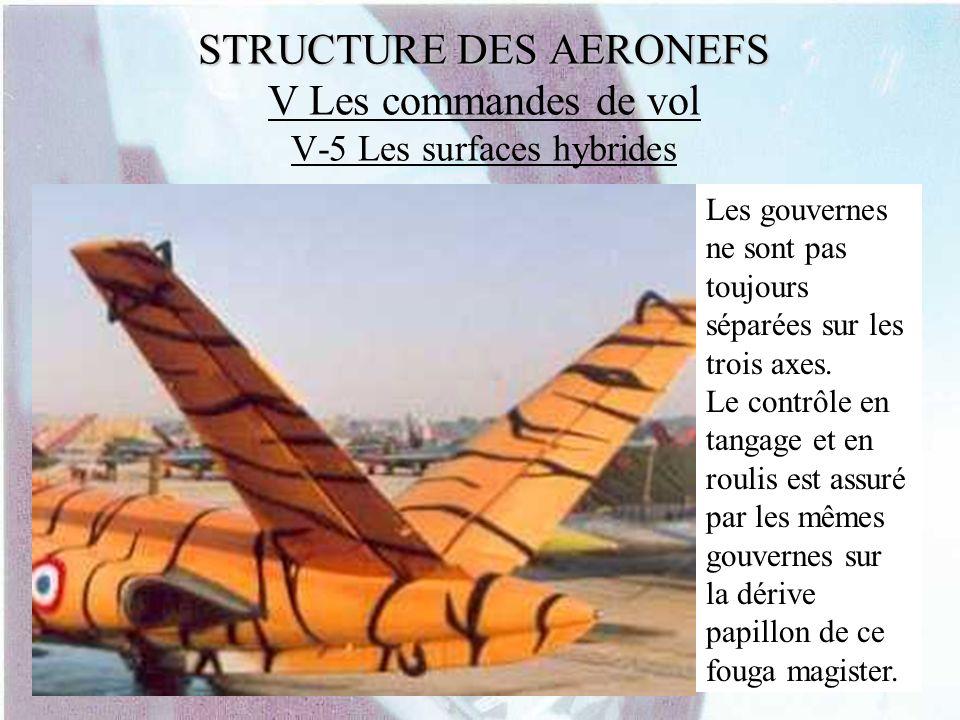 STRUCTURE DES AERONEFS STRUCTURE DES AERONEFS V Les commandes de vol V-5 Les surfaces hybrides Les gouvernes ne sont pas toujours séparées sur les tro