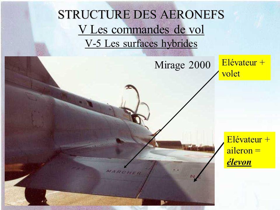 STRUCTURE DES AERONEFS STRUCTURE DES AERONEFS V Les commandes de vol V-5 Les surfaces hybrides Elévateur + volet Elévateur + aileron = élevon Mirage 2