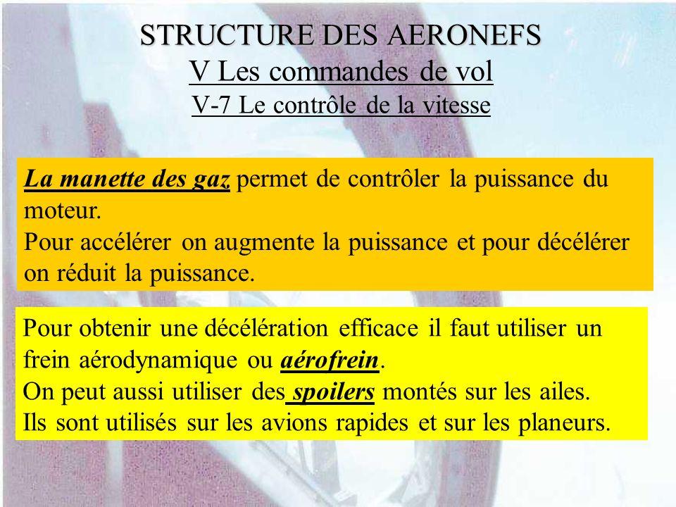 STRUCTURE DES AERONEFS STRUCTURE DES AERONEFS V Les commandes de vol V-7 Le contrôle de la vitesse La manette des gaz permet de contrôler la puissance