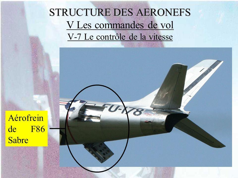 STRUCTURE DES AERONEFS STRUCTURE DES AERONEFS V Les commandes de vol V-7 Le contrôle de la vitesse Aérofrein de F86 Sabre