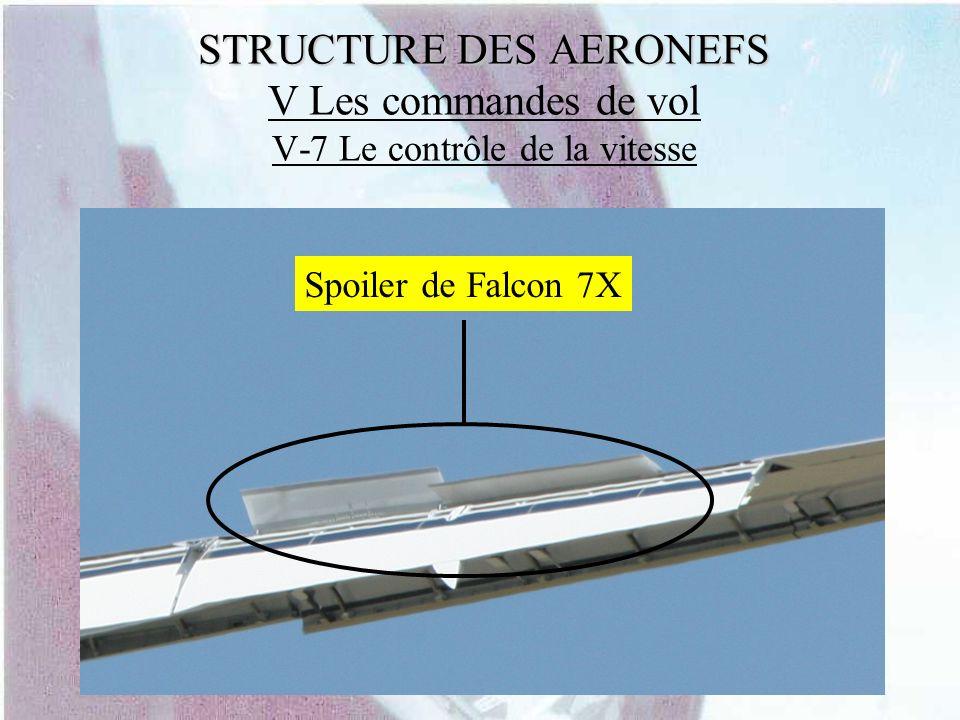 STRUCTURE DES AERONEFS STRUCTURE DES AERONEFS V Les commandes de vol V-7 Le contrôle de la vitesse Spoiler de Falcon 7X