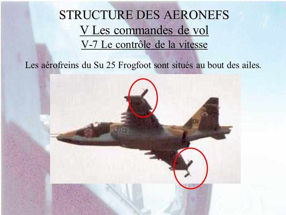 STRUCTURE DES AERONEFS STRUCTURE DES AERONEFS V Les commandes de vol V-7 Le contrôle de la vitesse Les aérofreins du Su 25 Frogfoot sont situés au bou