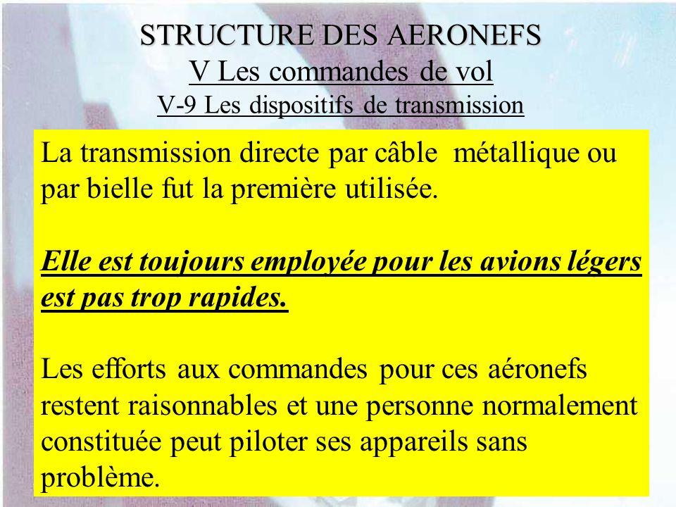 STRUCTURE DES AERONEFS STRUCTURE DES AERONEFS V Les commandes de vol V-9 Les dispositifs de transmission La transmission directe par câble métallique
