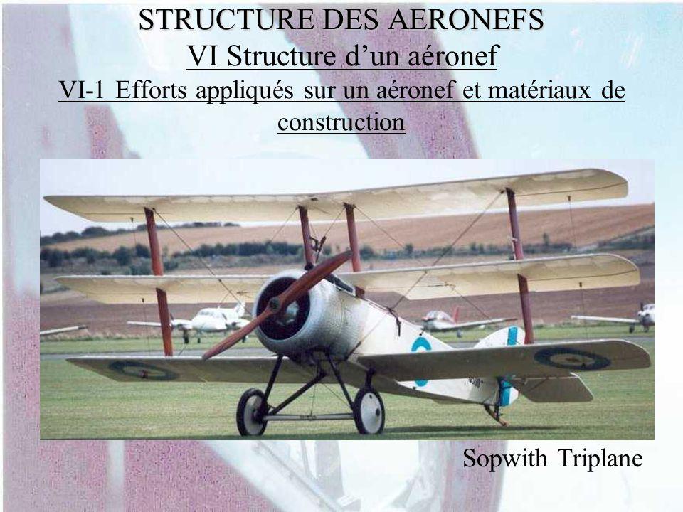 STRUCTURE DES AERONEFS STRUCTURE DES AERONEFS VI Structure dun aéronef VI-1 Efforts appliqués sur un aéronef et matériaux de construction Sopwith Trip