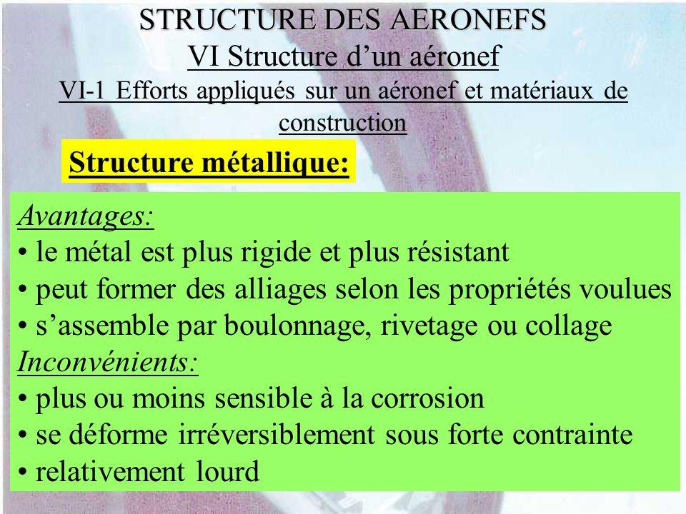 STRUCTURE DES AERONEFS STRUCTURE DES AERONEFS VI Structure dun aéronef VI-1 Efforts appliqués sur un aéronef et matériaux de construction Structure mé