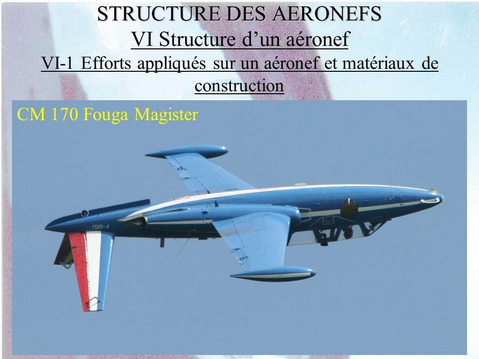 STRUCTURE DES AERONEFS STRUCTURE DES AERONEFS VI Structure dun aéronef VI-1 Efforts appliqués sur un aéronef et matériaux de construction CM 170 Fouga