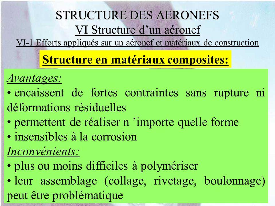 STRUCTURE DES AERONEFS STRUCTURE DES AERONEFS VI Structure dun aéronef VI-1 Efforts appliqués sur un aéronef et matériaux de construction Structure en