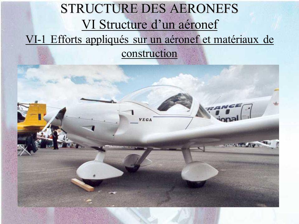 STRUCTURE DES AERONEFS STRUCTURE DES AERONEFS VI Structure dun aéronef VI-1 Efforts appliqués sur un aéronef et matériaux de construction