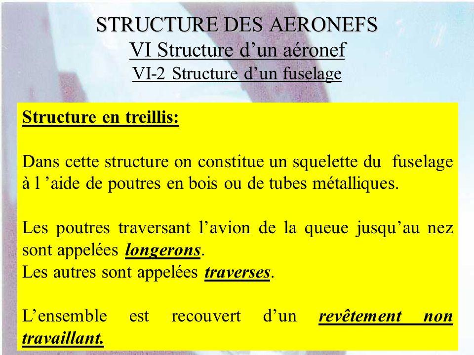 STRUCTURE DES AERONEFS STRUCTURE DES AERONEFS VI Structure dun aéronef VI-2 Structure dun fuselage Structure en treillis: Dans cette structure on cons