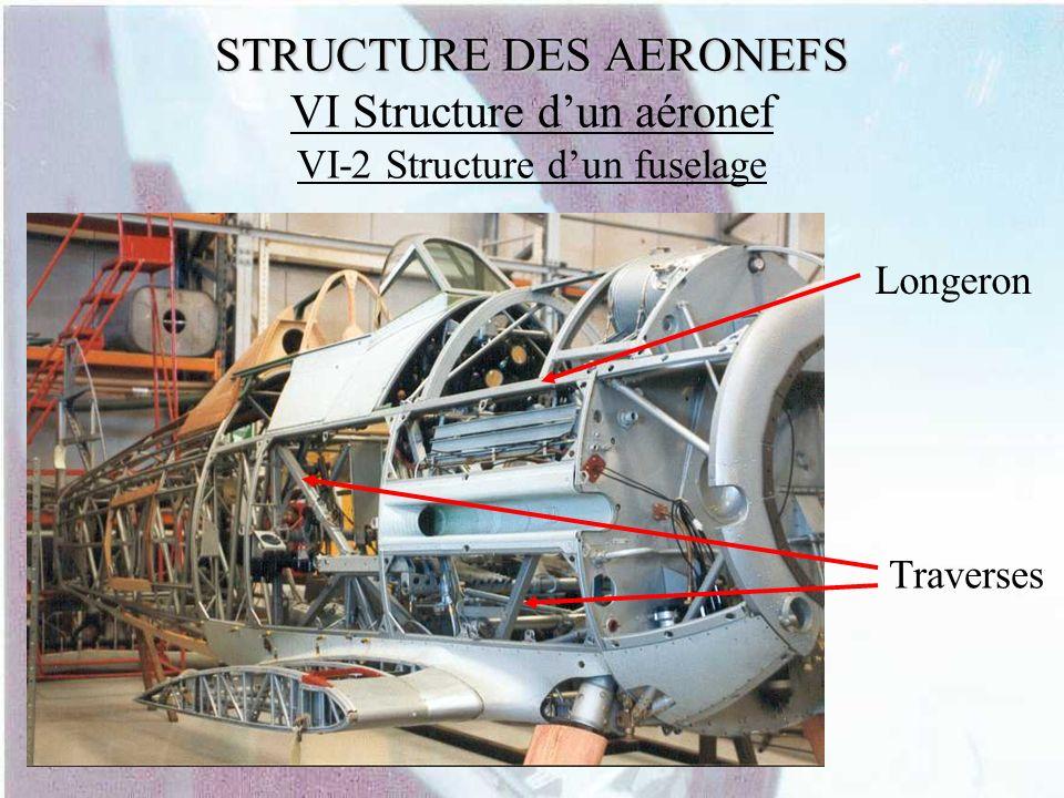 STRUCTURE DES AERONEFS STRUCTURE DES AERONEFS VI Structure dun aéronef VI-2 Structure dun fuselage Longeron Traverses