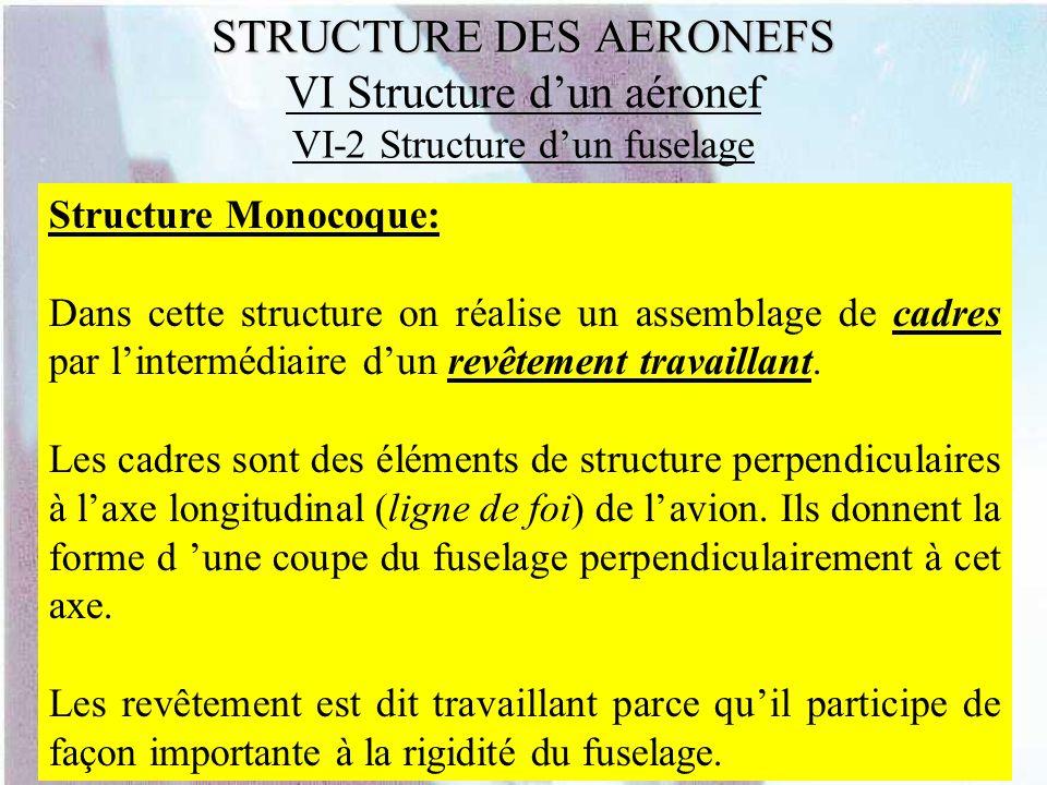 STRUCTURE DES AERONEFS STRUCTURE DES AERONEFS VI Structure dun aéronef VI-2 Structure dun fuselage Structure Monocoque: Dans cette structure on réalis