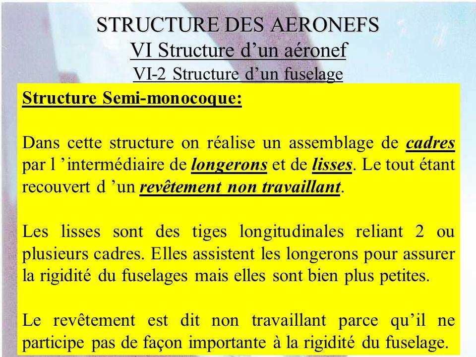 STRUCTURE DES AERONEFS STRUCTURE DES AERONEFS VI Structure dun aéronef VI-2 Structure dun fuselage Structure Semi-monocoque: Dans cette structure on r