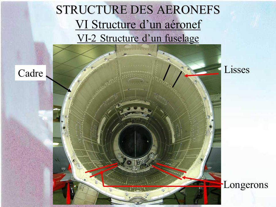 STRUCTURE DES AERONEFS STRUCTURE DES AERONEFS VI Structure dun aéronef VI-2 Structure dun fuselage Longerons Cadre Lisses