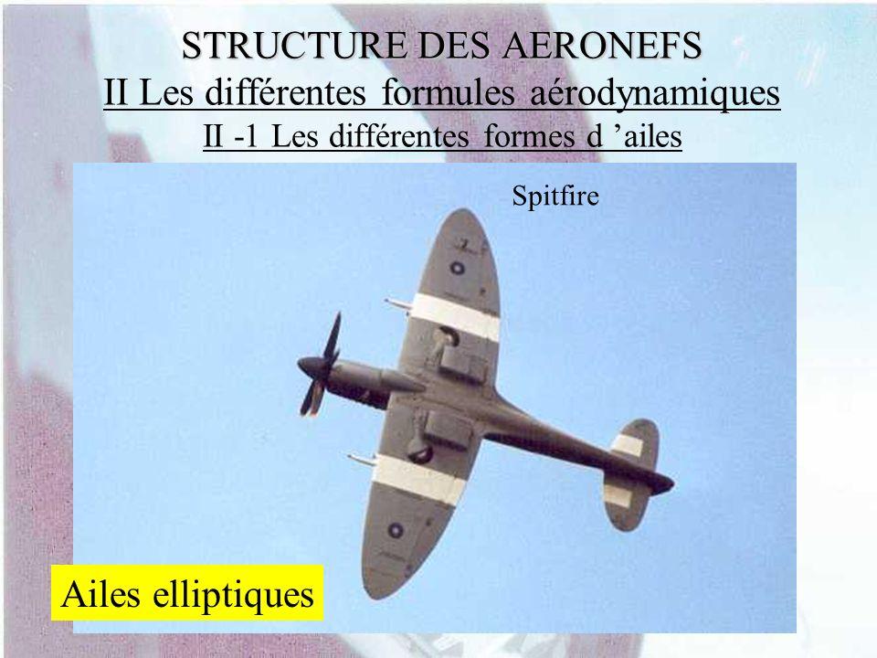 STRUCTURE DES AERONEFS STRUCTURE DES AERONEFS II Les différentes formules aérodynamiques II -1 Les différentes formes d ailes Spitfire Ailes elliptiqu
