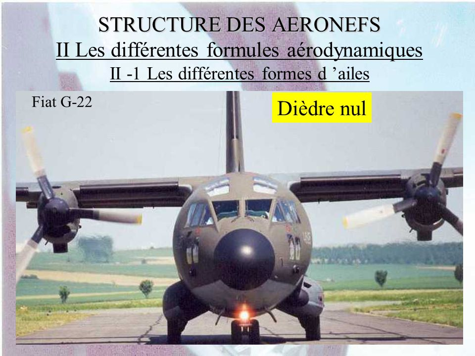 STRUCTURE DES AERONEFS STRUCTURE DES AERONEFS II Les différentes formules aérodynamiques II -1 Les différentes formes d ailes Fiat G-22 Dièdre nul
