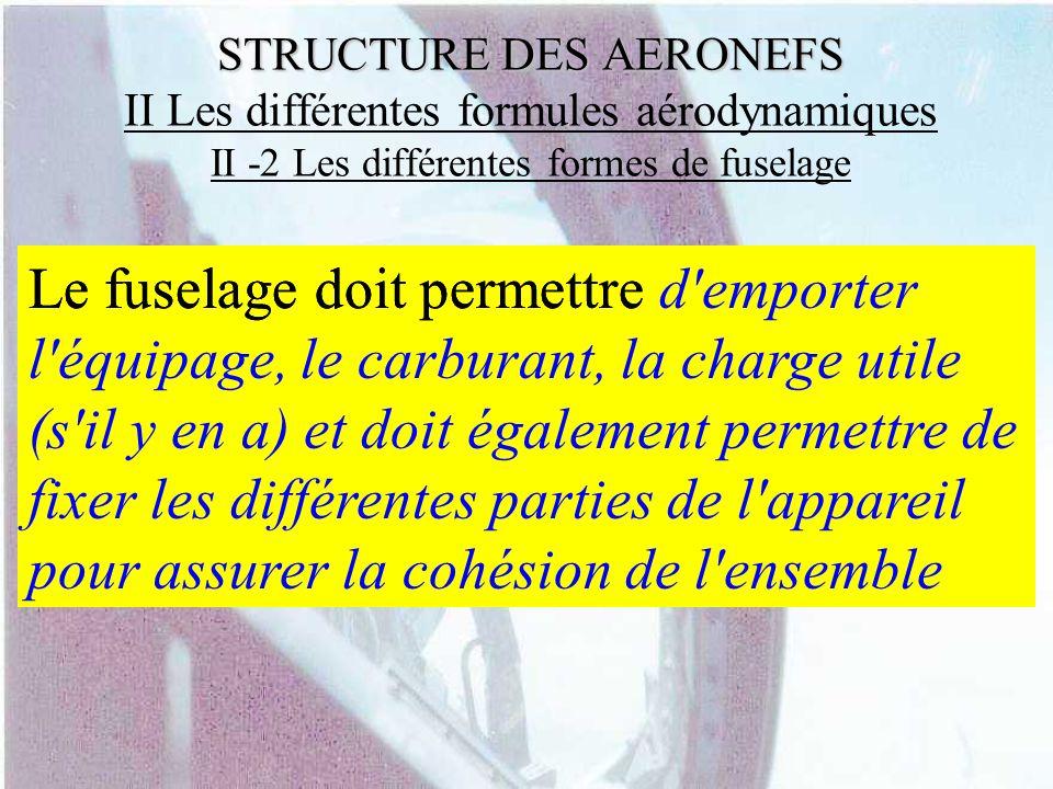 STRUCTURE DES AERONEFS STRUCTURE DES AERONEFS II Les différentes formules aérodynamiques II -2 Les différentes formes de fuselage Le fuselage doit per
