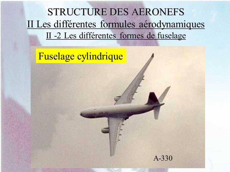 STRUCTURE DES AERONEFS STRUCTURE DES AERONEFS II Les différentes formules aérodynamiques II -2 Les différentes formes de fuselage Fuselage cylindrique