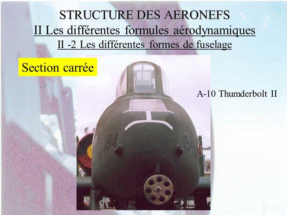 STRUCTURE DES AERONEFS STRUCTURE DES AERONEFS II Les différentes formules aérodynamiques II -2 Les différentes formes de fuselage Section carrée A-10