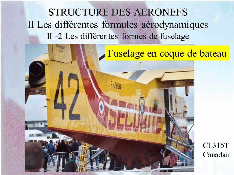 STRUCTURE DES AERONEFS STRUCTURE DES AERONEFS II Les différentes formules aérodynamiques II -2 Les différentes formes de fuselage Fuselage en coque de