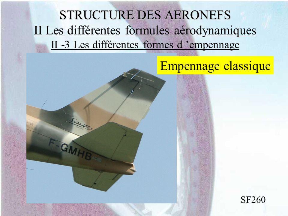 STRUCTURE DES AERONEFS STRUCTURE DES AERONEFS II Les différentes formules aérodynamiques II -3 Les différentes formes d empennage SF260 Empennage clas
