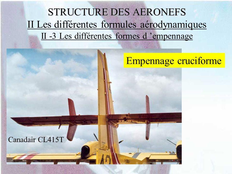 STRUCTURE DES AERONEFS STRUCTURE DES AERONEFS II Les différentes formules aérodynamiques II -3 Les différentes formes d empennage Canadair CL415T Empe