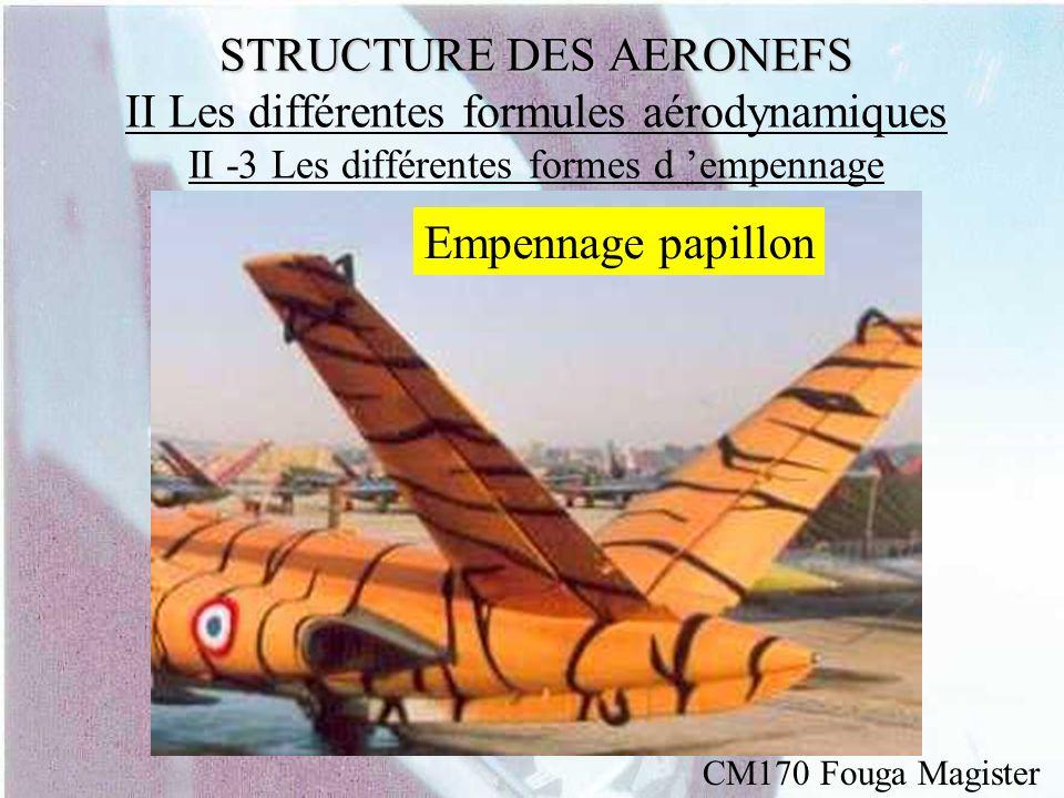 STRUCTURE DES AERONEFS STRUCTURE DES AERONEFS II Les différentes formules aérodynamiques II -3 Les différentes formes d empennage Empennage papillon C