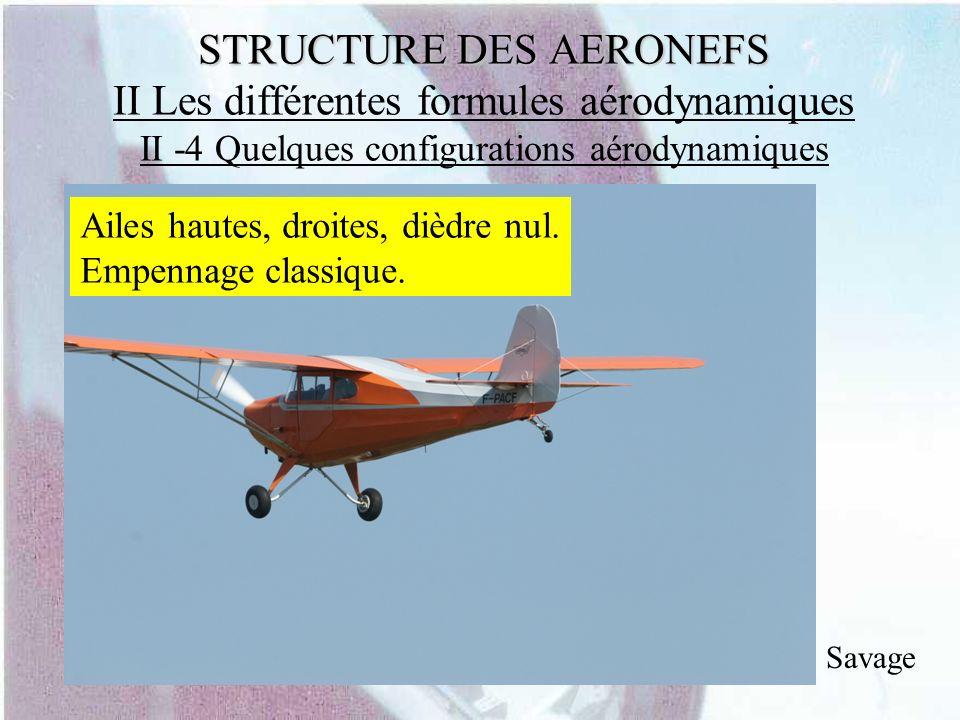 STRUCTURE DES AERONEFS STRUCTURE DES AERONEFS II Les différentes formules aérodynamiques II -4 Quelques configurations aérodynamiques Savage Ailes hau