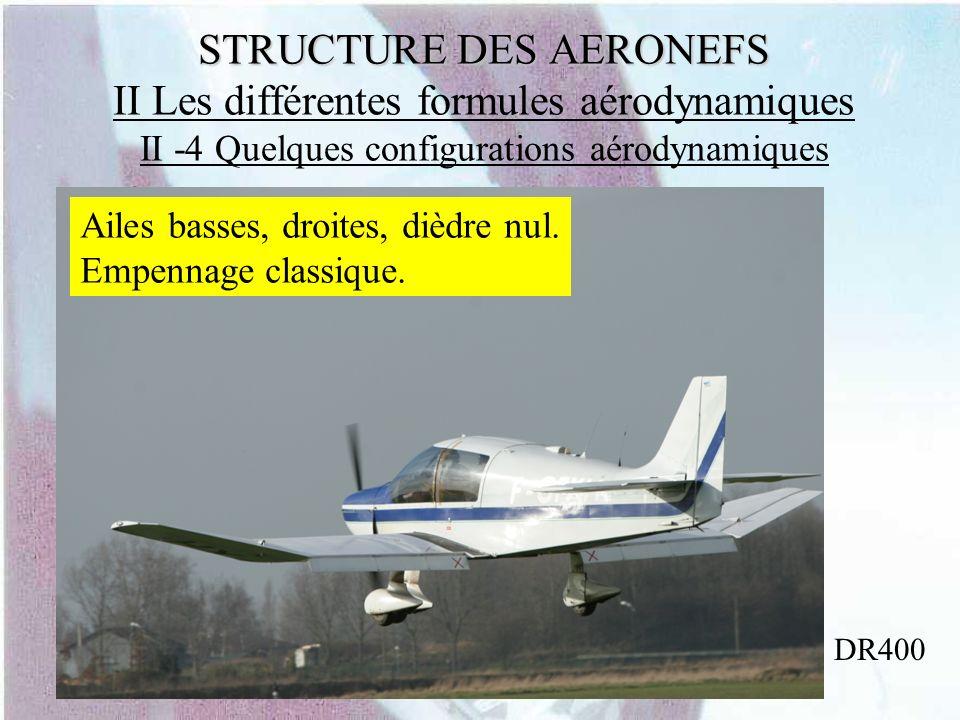 STRUCTURE DES AERONEFS STRUCTURE DES AERONEFS II Les différentes formules aérodynamiques II -4 Quelques configurations aérodynamiques DR400 Ailes bass