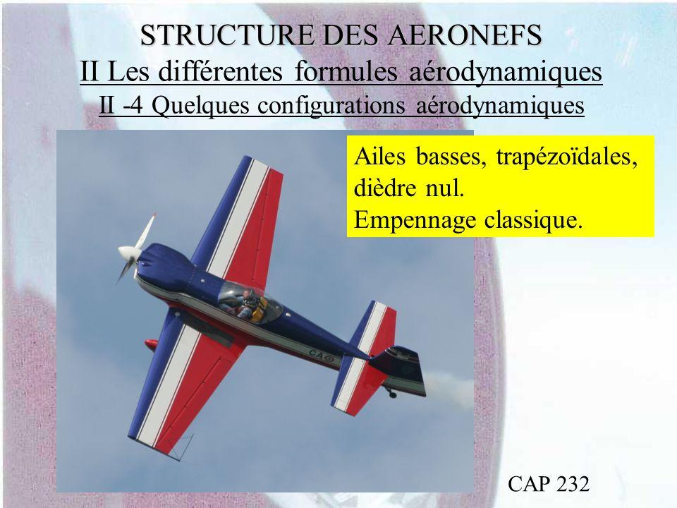 STRUCTURE DES AERONEFS STRUCTURE DES AERONEFS II Les différentes formules aérodynamiques II -4 Quelques configurations aérodynamiques CAP 232 Ailes ba