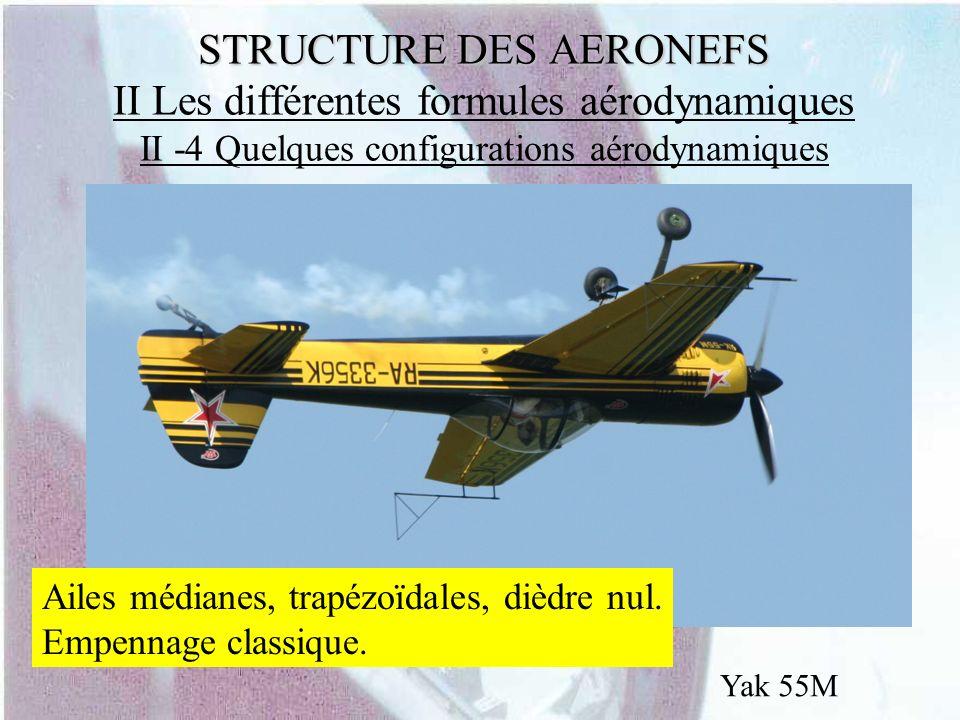 STRUCTURE DES AERONEFS STRUCTURE DES AERONEFS II Les différentes formules aérodynamiques II -4 Quelques configurations aérodynamiques Yak 55M Ailes mé
