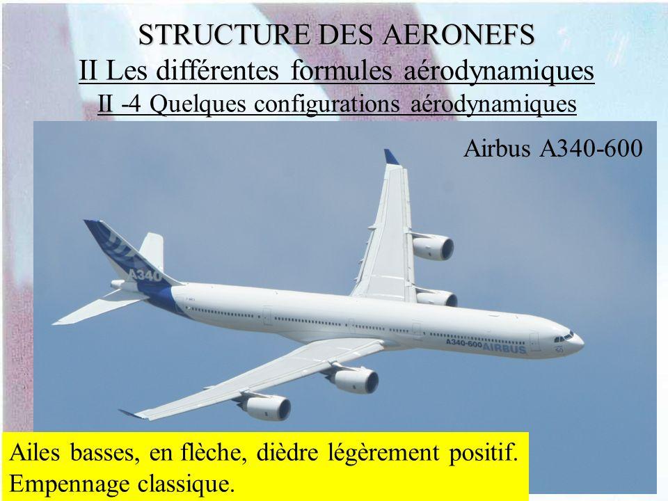 STRUCTURE DES AERONEFS STRUCTURE DES AERONEFS II Les différentes formules aérodynamiques II -4 Quelques configurations aérodynamiques Airbus A340-600