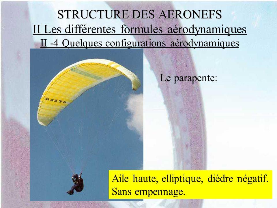 STRUCTURE DES AERONEFS STRUCTURE DES AERONEFS II Les différentes formules aérodynamiques II -4 Quelques configurations aérodynamiques Le parapente: Ai