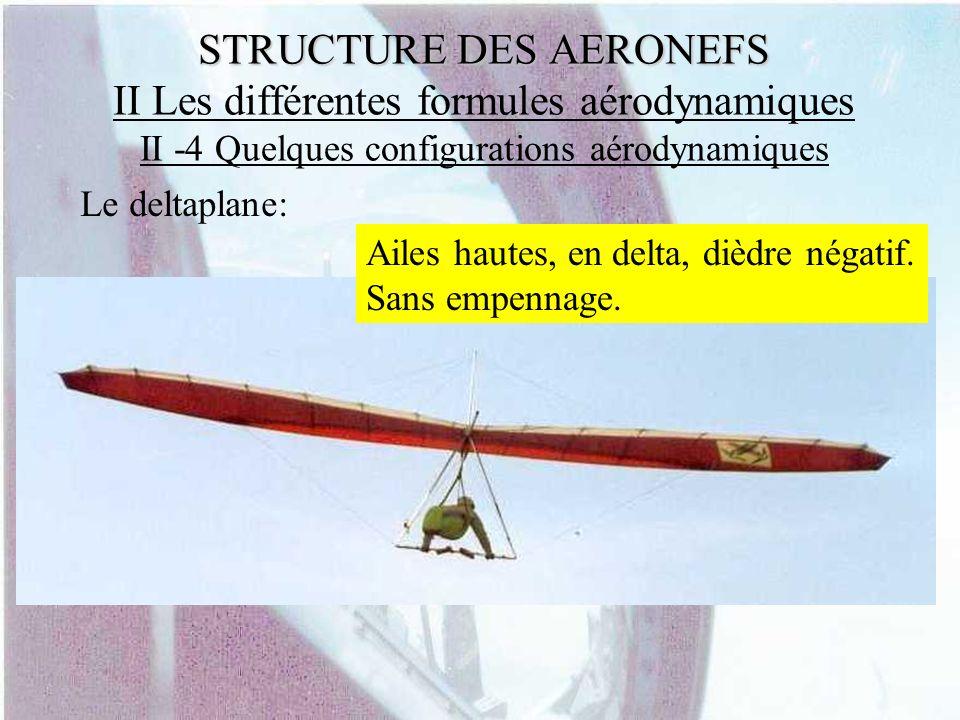 STRUCTURE DES AERONEFS STRUCTURE DES AERONEFS II Les différentes formules aérodynamiques II -4 Quelques configurations aérodynamiques Le deltaplane: A