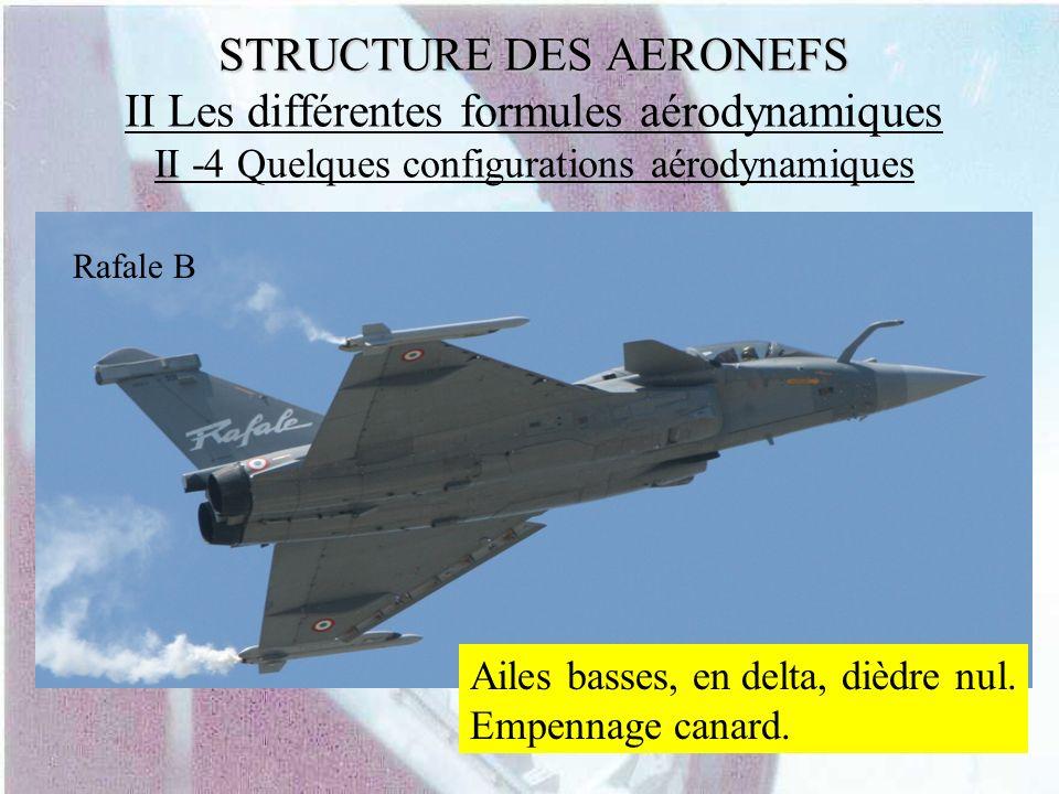 STRUCTURE DES AERONEFS STRUCTURE DES AERONEFS II Les différentes formules aérodynamiques II -4 Quelques configurations aérodynamiques Ailes basses, en