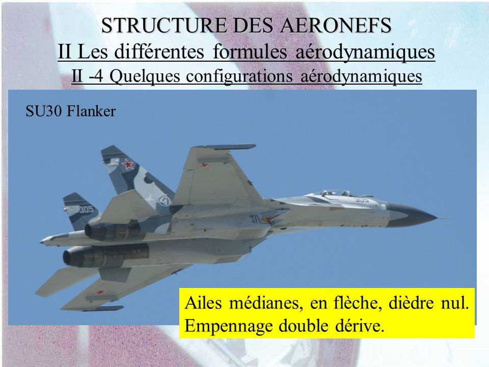 STRUCTURE DES AERONEFS STRUCTURE DES AERONEFS II Les différentes formules aérodynamiques II -4 Quelques configurations aérodynamiques Ailes médianes,