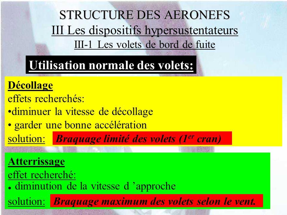 STRUCTURE DES AERONEFS STRUCTURE DES AERONEFS III Les dispositifs hypersustentateurs III-1 Les volets de bord de fuite Utilisation normale des volets: