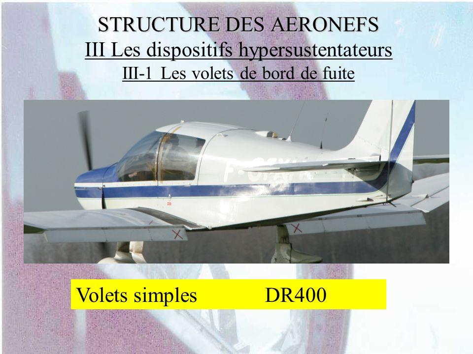 STRUCTURE DES AERONEFS STRUCTURE DES AERONEFS III Les dispositifs hypersustentateurs III-1 Les volets de bord de fuite Volets simplesDR400