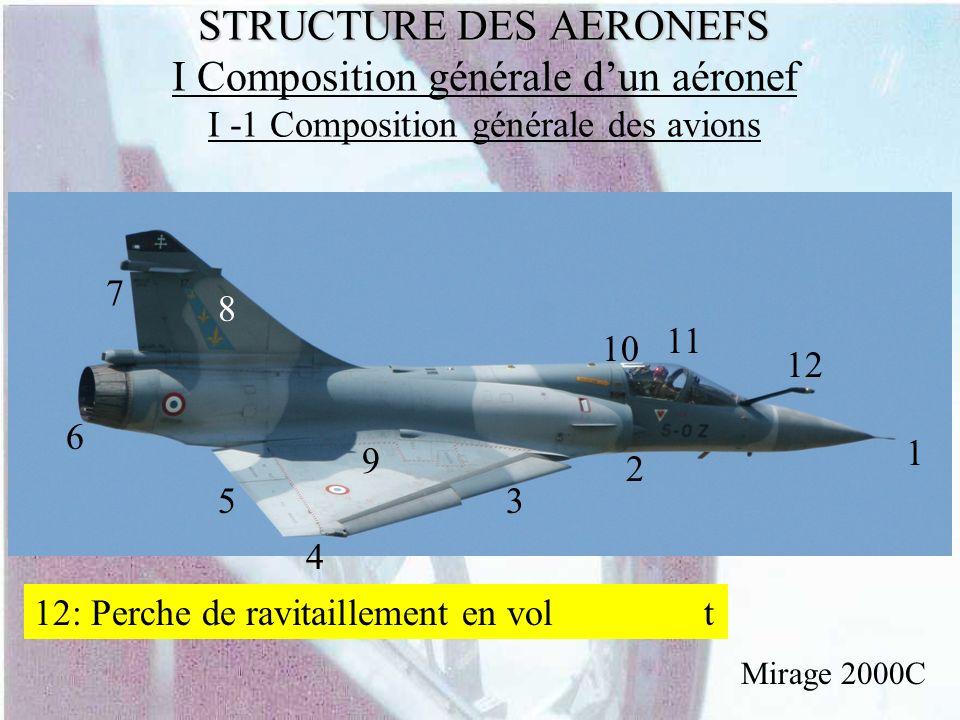 STRUCTURE DES AERONEFS STRUCTURE DES AERONEFS I Composition générale dun aéronef I -1 Composition générale des avions Mirage 2000C 1 2 3 4 5 6 7 8 9 1