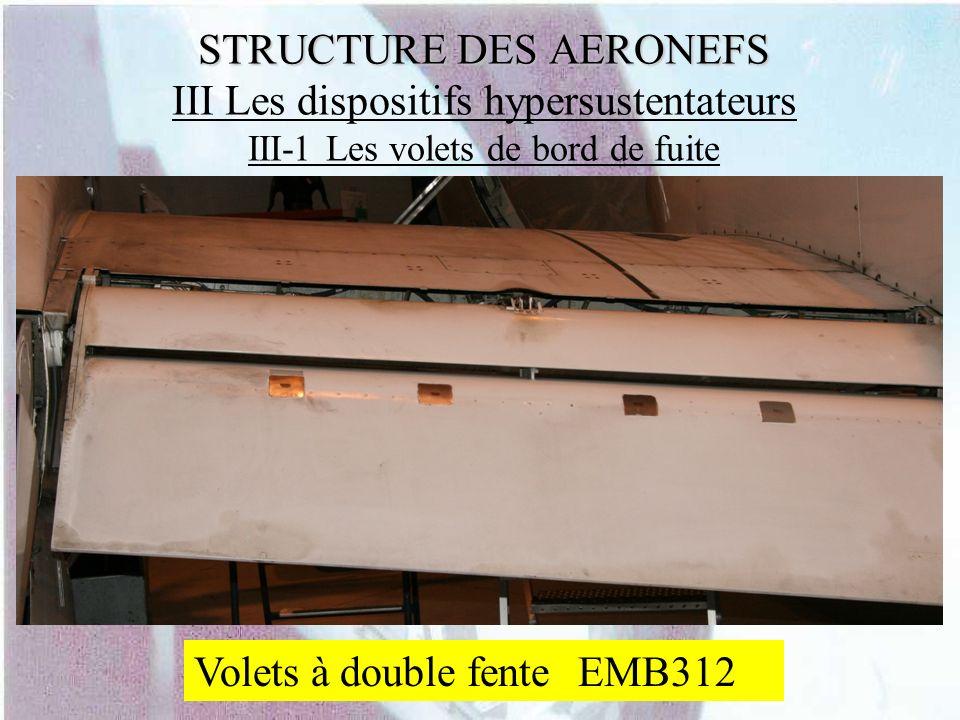 STRUCTURE DES AERONEFS STRUCTURE DES AERONEFS III Les dispositifs hypersustentateurs III-1 Les volets de bord de fuite Volets à double fente EMB312