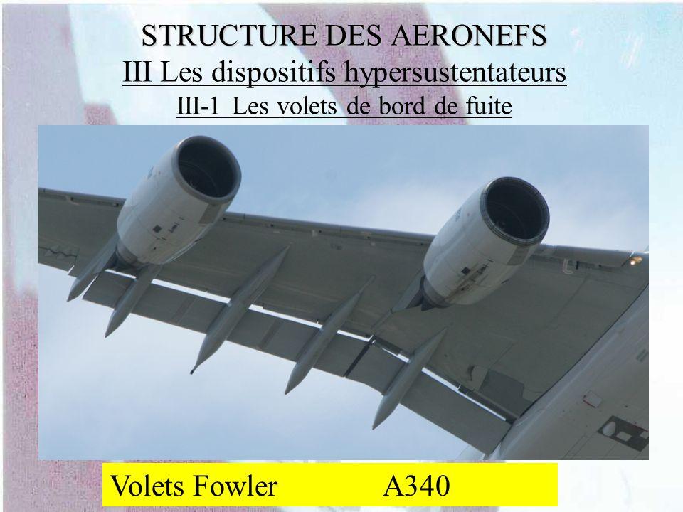 STRUCTURE DES AERONEFS STRUCTURE DES AERONEFS III Les dispositifs hypersustentateurs III-1 Les volets de bord de fuite Volets FowlerA340
