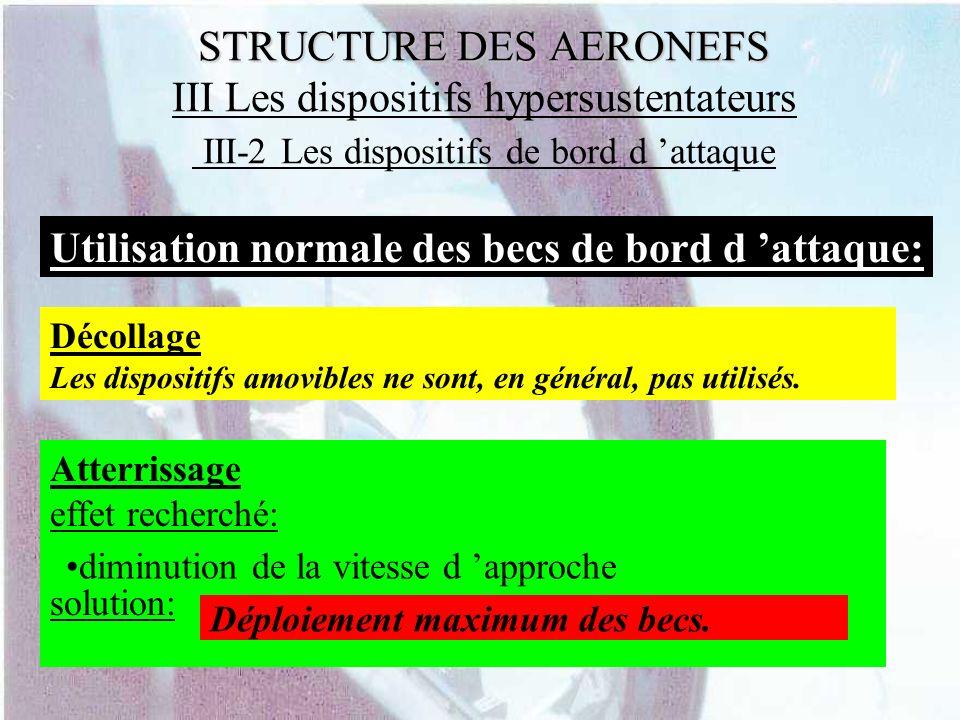 STRUCTURE DES AERONEFS STRUCTURE DES AERONEFS III Les dispositifs hypersustentateurs III-2 Les dispositifs de bord d attaque Utilisation normale des b