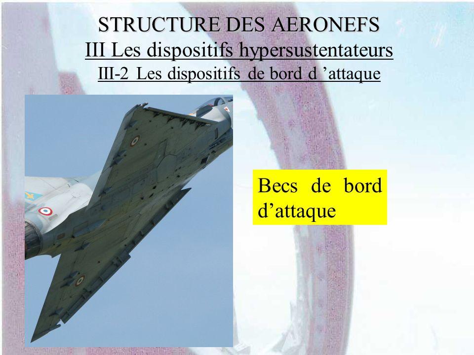 STRUCTURE DES AERONEFS STRUCTURE DES AERONEFS III Les dispositifs hypersustentateurs III-2 Les dispositifs de bord d attaque Becs de bord dattaque