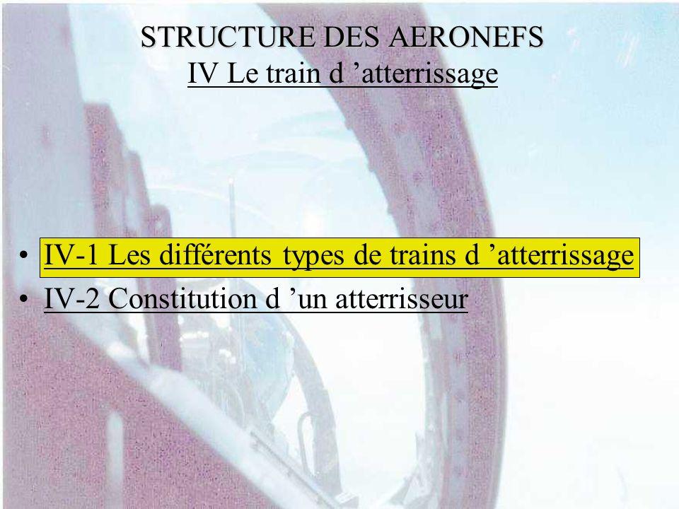STRUCTURE DES AERONEFS STRUCTURE DES AERONEFS IV Le train d atterrissage IV-1 Les différents types de trains d atterrissage IV-2 Constitution d un att