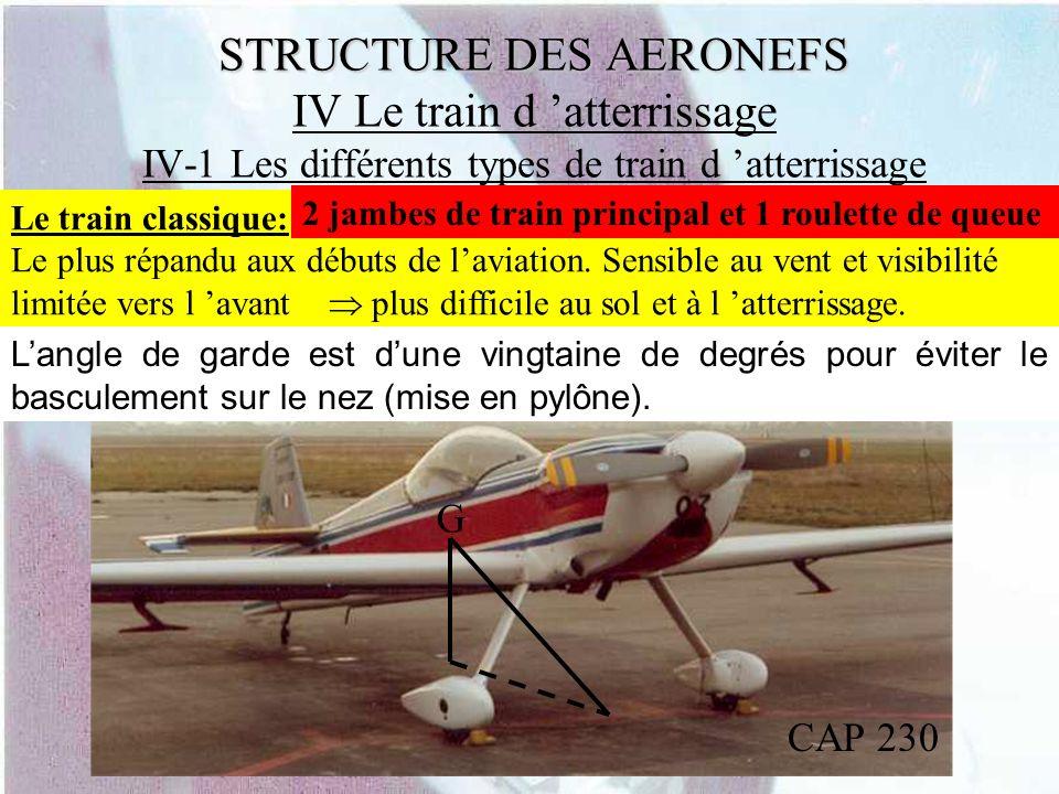 STRUCTURE DES AERONEFS STRUCTURE DES AERONEFS IV Le train d atterrissage IV-1 Les différents types de train d atterrissage Le train classique: Le plus