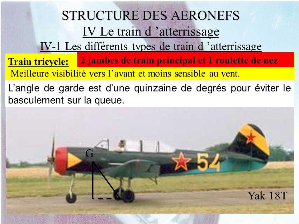 STRUCTURE DES AERONEFS STRUCTURE DES AERONEFS IV Le train d atterrissage IV-1 Les différents types de train d atterrissage Train tricycle: Meilleure v