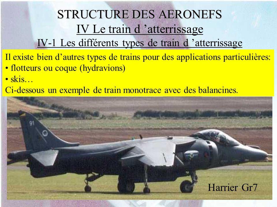 STRUCTURE DES AERONEFS STRUCTURE DES AERONEFS IV Le train d atterrissage IV-1 Les différents types de train d atterrissage Il existe bien dautres type