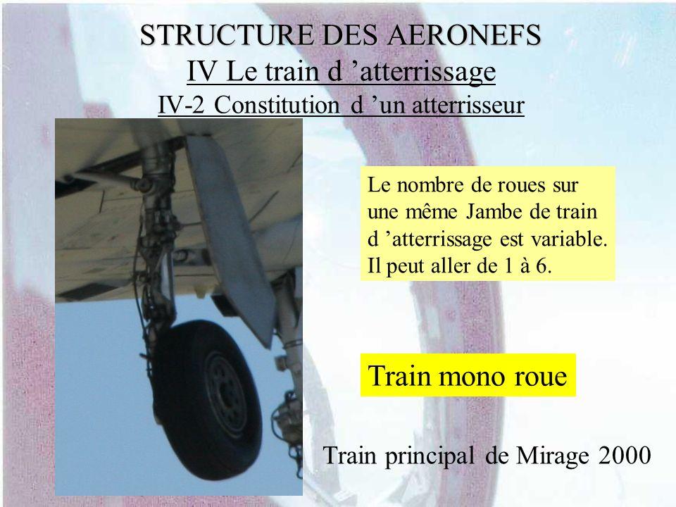 STRUCTURE DES AERONEFS STRUCTURE DES AERONEFS IV Le train d atterrissage IV-2 Constitution d un atterrisseur Le nombre de roues sur une même Jambe de